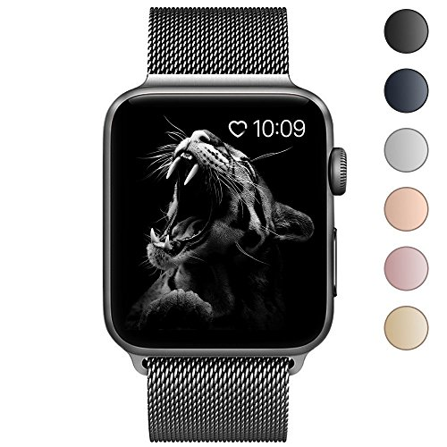 BRG apple watch バンド,ミラネーゼループ アップルウォッチバンド アップルウォッチ1 apple watch series 2 apple watch series 3 ステンレス留め金製(38mm,スペースグレー)18ヶ月保証付き