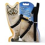 Elitlife 猫用 牽引ロープ 首輪リード 飛び出し防止 散歩・訓練用 首輪 胴輪 リード ハーネス 調整可能 全4色 (ブラック)