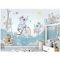 """素敵な自転車の象-子供の寝室の壁の壁画の壁紙壁の壁紙-ロール紙-連絡用紙カスタム300(W)x 200 cm(H)(9'2""""x5'11"""")フィート"""