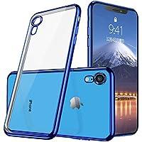 iphone XR ケース クリア TPU 耐衝撃 シリコン おしゃれ かわいい ソ 防塵 指紋防止 ソフト 透明 メッキ加工 Qi 充電 対応 最軽量 超薄型 一体型 人気 ケース ブルー