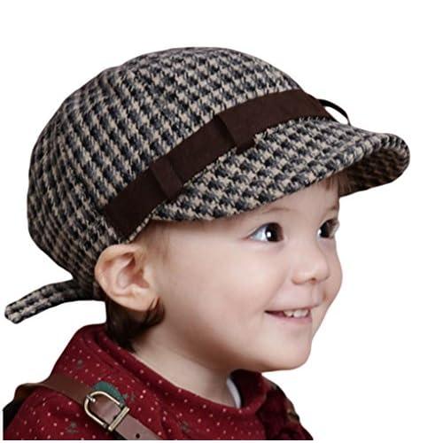 (ビグッド)Bigood 子供用 赤ちゃん ベビー 帽子 キャップ 女の子 男の子 キャップ チェック柄 キャスケット カジュアル お出かけ 通学(黒)
