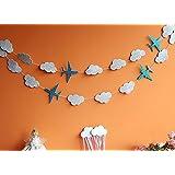 SUNBEAUTY 1列(19枚)3m 可愛い飛行機+雲 DIY ラメが落ちらない特製紙 キラキラなペーパーガーランド バースデー クリスマス 誕生日やウェディングなどパーティーのデコレーション 飾り付け (飛行機+雲(材質更新))