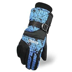 Tomoto防撥水 防寒 透湿 アウトドア 冬用 バイク マリンレジャー 登山 バイク スキー 手袋グローブ (ブルー, 男性用)