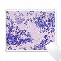 フランス農場Toile。紫の。人気のToileプリント。 PC Mouse Pad パソコン マウスパッド