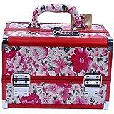 化粧オーガナイザーバッグ 花のパターンポータブル化粧品ケース美容メイクアップと女の子の女性の旅行と毎日のストレージロック付きトレイ付き 化粧品ケース