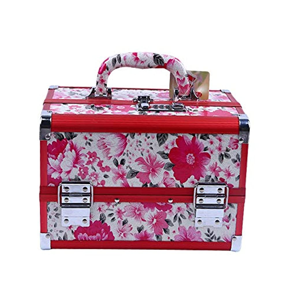 主要な熟達した誕生化粧オーガナイザーバッグ 花のパターンポータブル化粧品ケース美容メイクアップと女の子の女性の旅行と毎日のストレージロック付きトレイ付き 化粧品ケース