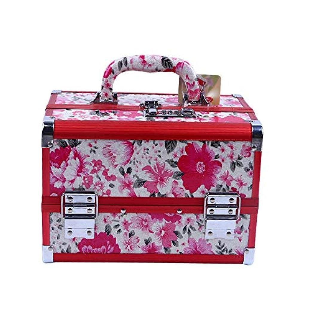 集団アーティファクトエスカレート化粧オーガナイザーバッグ 花のパターンポータブル化粧品ケース美容メイクアップと女の子の女性の旅行と毎日のストレージロック付きトレイ付き 化粧品ケース