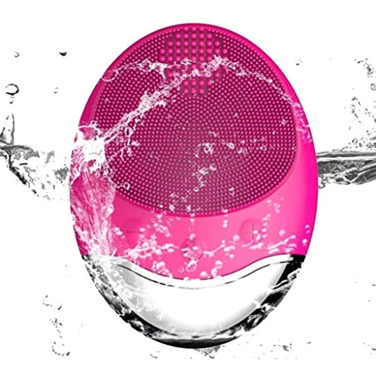 ベンチ遺跡テザークレンジング器具、電気シリコーンクレンジングブラシ、竹炭音波フェイシャルマッサージワイヤレス充電式毛穴クリーナー、ディープクレンジング、穏やかな角質除去 (Color : Red)
