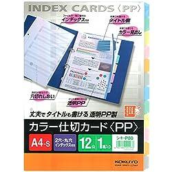 コクヨ ファイル インデックス 仕切カード PP 12山 2穴 1組 A4 シキ-P80