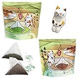ねこ茶 ティーバッグ 釣り (深蒸し茶・ほうじ茶×2袋セット) ギフト 猫のフィギュア付き(1個)プレゼント
