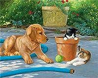 CaptainCrafts 数字による新しいペイント大人初心者向け, DIYの印刷済みリネンキャンバスの油絵キット家の装飾のギフト16x20インチ - 猫と犬 (フレームなし)