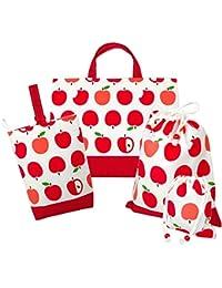 パルフィーユ/ハンドメイド 新学期 4点セット (リンゴ柄/単色) 女の子 手作り 袋 通園 通学 入園 入学