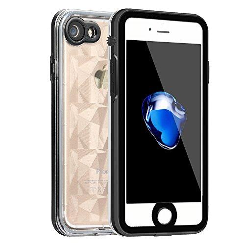 GOPROOF iPhone7plus(5.5インチ)専用防水ケース(RS series )、iPhone7plus 軽量スマホケース、iPhone7plus スマホ防水ケース、防水カバー、防水保護等級IP68、防水、防雪、防塵、耐衝撃、静音ネジ付け、背後ダイヤ模様、おしゃれな保護ケース。 (黒い)