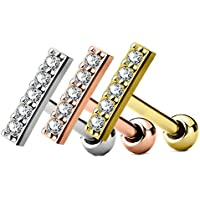 MoBody 3PCS Long CZ Lined Bar Tragus Earring Piercing Stud Set Surgical Steel Cartilage Barbell Jewelry