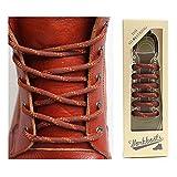 THE SHOESTRING ワックスコーティング靴ひも ミックスブーツタイプ シューレース (ミックスブラウン、130cm)