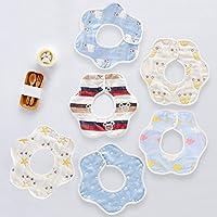 stshell 6重 綿100% よだれかけ ビブ ベビー ビブ スタイ 柔らかい 出産祝い 360°回転可 6枚入り (男の赤ちゃん)