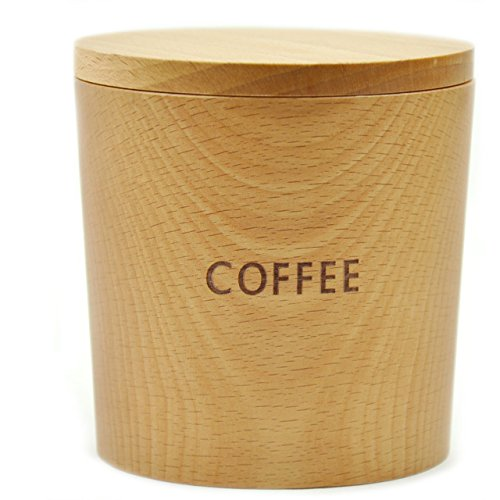 [ラトルウッド]RattleWood 木製キャニスター coffee sugar salt 陶器 保存容器 北欧 木製 (ブナ/コーヒー)