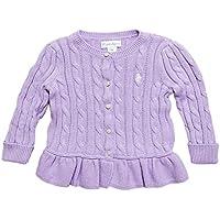 (ポロ ラルフローレン)POLO RALPH LAUREN ベビー Baby 女の子 セーター カーディガン Cable Cotton Peplum Cardigan フレンチ ライラック French Lilac (6M) [並行輸入品]
