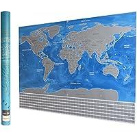 """新しいScratch Offワールドマップ旅行ポスター – Perfect Gift for Travelers – 詳細な状態とProvince Outlines – with Flagピン、プレミアムScratchツール、and More 。( 32 """" x 22.5 """" )"""