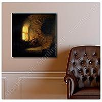 """AlonlineアートPhilosopherで瞑想レンブラントキャンバスの印刷(100%コットン、フレームなしunmounted) 20"""" x20""""–51x 51cmキャンバス印刷油彩画のリビングルーム壁アート画像キャンバスのキッチン"""