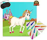 Pin The Horn On The Unicorn - Fun Rainbow Kids Birthday Party Game - Buy as a Gift or Decoration for Child | Magical Party Supplies [並行輸入品]