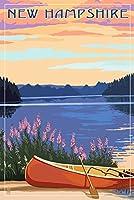 New Hampshire–Canoers on Lake 16 x 24 Signed Art Print LANT-69088-709