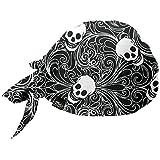Shinobu Riders INVISTA社 COOLMAX® ヘルメット インナーキャップ (バンダナ キャップ タイプ) Skull Black SR-096