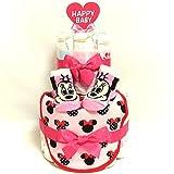 a14 おむつケーキ2段 女の子ミニーマウスのスタイ&ベビーソックス ディズニーキャラクター オムツケーキ出産祝い