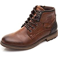 XPER Men's Shoes Motorcycle Combat Boots Brown Fashion Lace up Ankle Winter Boots Casual Dress Shoes for Men