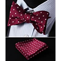 HISDERN Mens Silk Bow Ties for Party Classic Polka Dot Bowtie + Handkerchief Set Formal Tuxedo Bowtie Adjustable Length in Different Colors