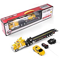 Sumaclife Remote Control Semi Truck Carrier with Flat Towing Bed and Race Car (Yellow) [並行輸入品]