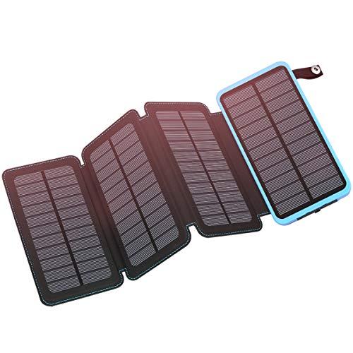 FEELLE ソーラーチャージャー 20000mAh 2USB出力ポート モバイルバッテリー ポータブルパワーバンク IP65防水 iPhone, iPad, Samsung, Andoroidおよび他のスマホと対応