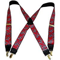 Hold-Ups Red Paisley Pattern Suspenders in X-back and Patented No-slip Gold Clips