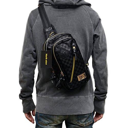 (Marib select) 斜めがけバッグ ボディバッグ チェック柄 豪華なゴールドプレート ゴールドファスナー ワンショルダーバッグ ショルダーバッグ 鞄 バッグ #c043 (ブラック)