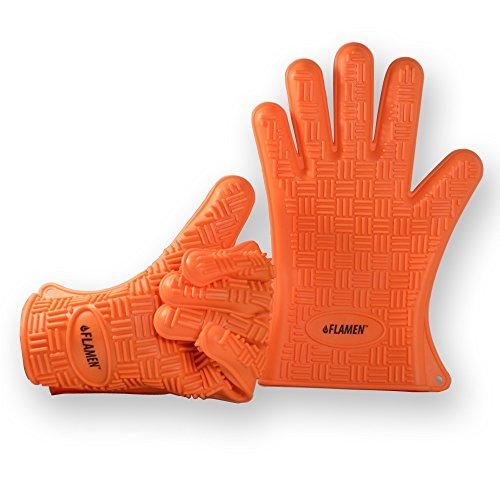 Flamen シリコンバーベキュー・キッチン手袋【耐熱防水100%シリコンを使用・台所やBBQなど様々な場所で】左右2つセット