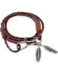 Bullidea Vintage Multiple Layers Leather Braided Bracelet Tribal Braded Rope with Feathers Pendant foe Women Men's Gift(Khaki)