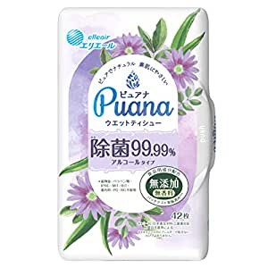 エリエール Puana(ピュアナ)【無添加】ウエットティシュー 除菌99.99%アルコールタイプ 本体42枚