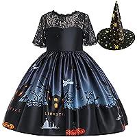 Ansimple ハロウィン コスチューム 2点セット ドレス+帽子 魔女 悪魔 ウィッチ 可愛い ワンピース 子供ドレ…
