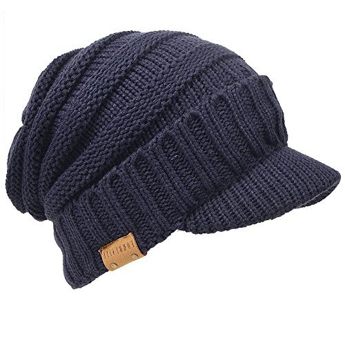 FORBUSITE つば付きニット帽 メンズ レディース 大きいサイズニットキャップ 裏起毛 防寒 厚手 B319 (ネイ...
