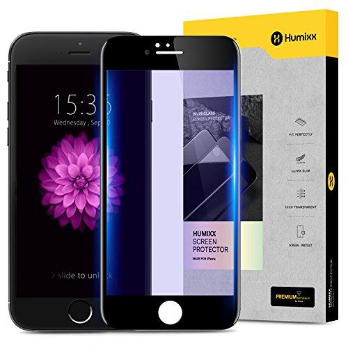 iPhone6sPlus ガラスフィルム iPhone6Plus ガラスフィルム 液晶保護フィルム 高鮮明 気泡ゼロ 硬度9H 3D ブルーライトカット 縁PET素材 防爆裂 スクラッチ防止 iPhone6/6sPlusガラスフィルム ホワイト【Humixx QL LG2】