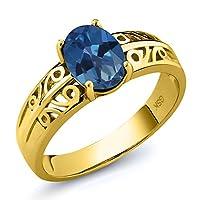 Gem Stone King 1.3カラット 天然 ミスティックトパーズ (サファイアブルー) シルバー925 イエローゴールドコーティング 指輪 リング