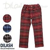 (ディラッシュ) DILASHフラノ風チェック柄ストレッチストレートパンツ/冬 パンツ ストレッチ 130 レッド