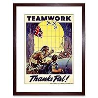 Vintage Ad War WWII Canada Teamwork Pal Plane Pilot Framed Wall Art Print 第二次世界大戦