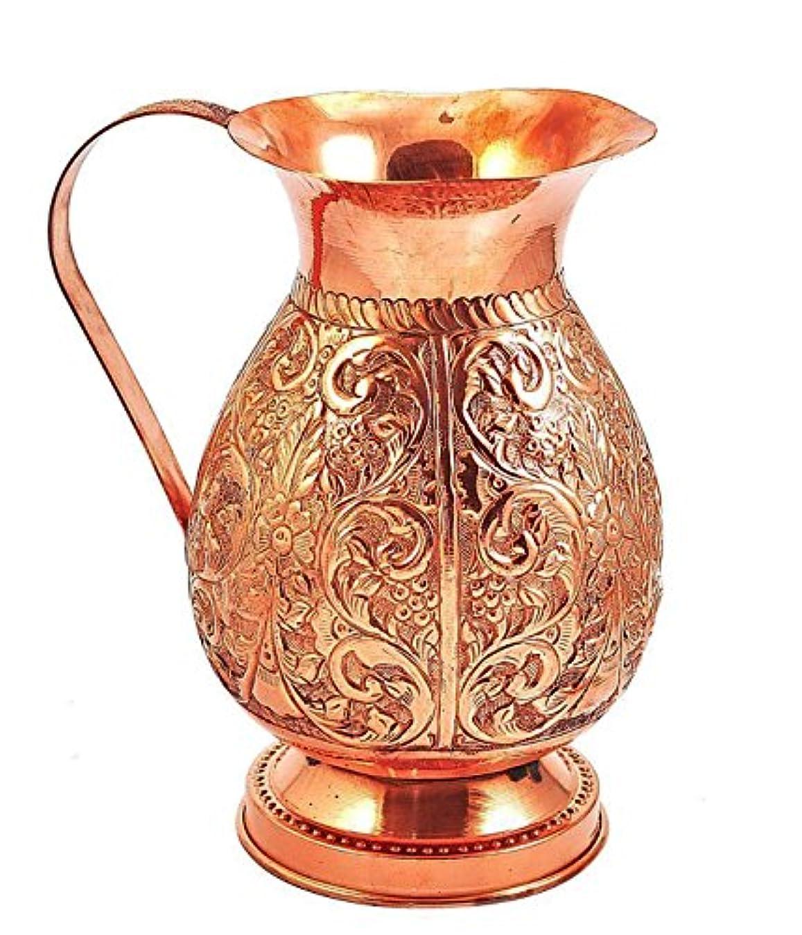 逸話まで製作Parijat Handicraft手作りピュア銅水ピッチャーフラワーデザインエンボス容量67流体オンス約