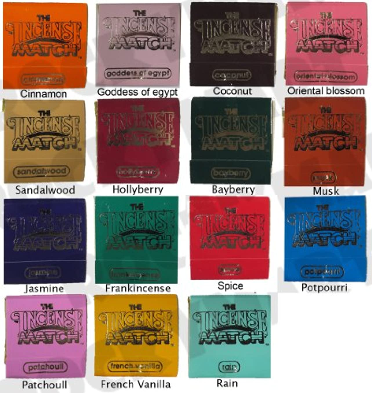 観光航海の全体Set of 15 Books of Incense Matches - One of each of the 15 Fragrances Available