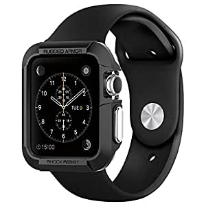 Apple Watch ケース, Spigen? アップル ウォッチ (42mm) ラギッド・アーマー 液晶保護フィルム 2枚入 【国内正規品】 (2015) (ブラック【SGP11496】)