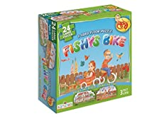 Fishy 's Bike and家、2 SidedジグソーFloorパズル。24ピース、3フィートlong. PerfectギフトユダヤのToddles、キッズ、男の子と女の子の年齢2 – 6。By Farbreng Toys