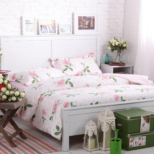 Sisbay Pink Rose Garden Bedding,French Rural Flower Duvet Cover,Girls Polka Dot Korean Bed Set,Queen King Size,4pcs by Norson bedding set [並行輸入品] Norson