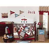 All Star Sports Red, Blue and Brown Baby Boy Bedding 9pc Crib Set by Sweet Jojo Designs