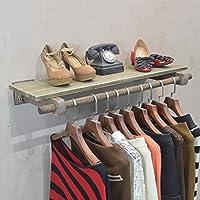 LXSnail メンズレディース衣料品店クリエイティブディスプレイラック、壁掛け衣類棚、レトロ服店の装飾棚ソリッドウッド コートラック (色 : A, サイズ さいず : 120 * 30cm)